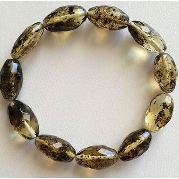 Olive shape faceted amber bracelet-AB2511