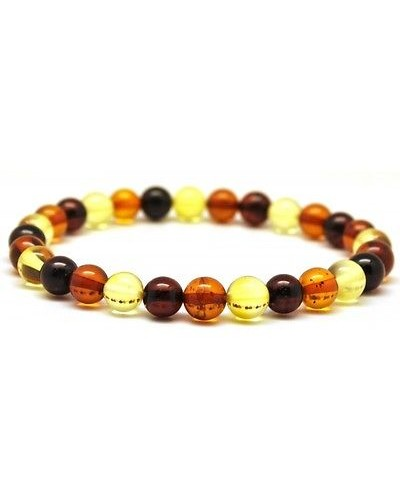 Multicolor round beads Baltic amber bracelet 6 - 7 mm.