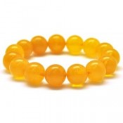 Natural round beads antique color Baltic amber bracelet 13 mm.