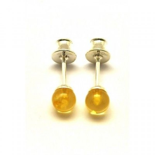 Round beads Baltic amber earrings-AE0190