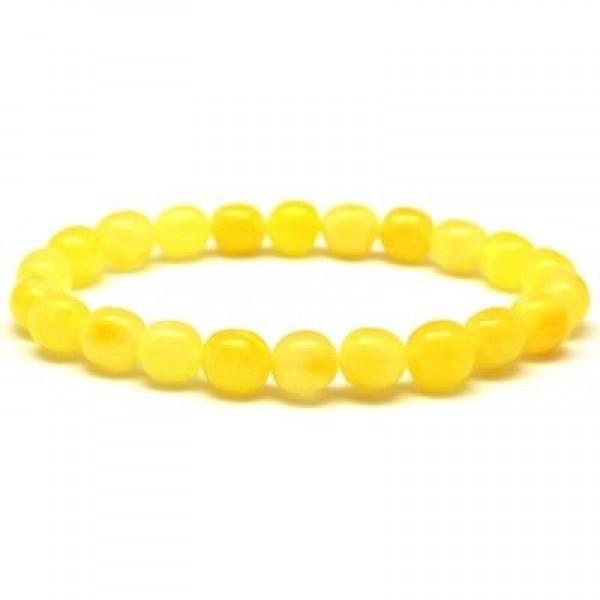Yellow olive shape Baltic amber bracelet-AB2340
