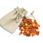 Raw Baltic amber material with linen pouch